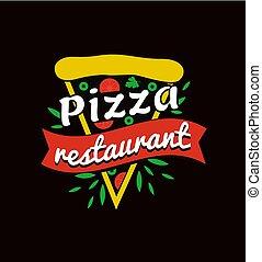 restaurang, logotype, befordrings-, lysande, smaklig, pizza