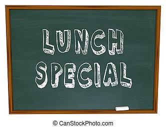 restaurang, -, lunch, chalkboard, ord, speciell, annonsering