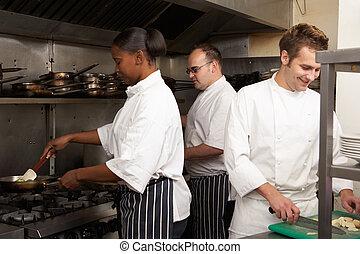 restaurang, mat, kockar, förberedande, lag, kök