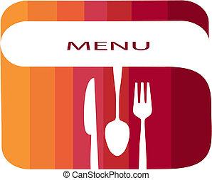 restaurang meny, mall, med, lutning, färger