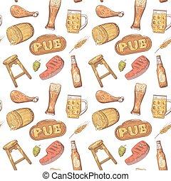 restaurang meny, pattern., seamless, pub, hand, bakgrund., öl, vektor, illustration, oavgjord, bryggeri, design.
