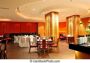restaurang, nymodig, pattaya, natt, inre, thailand, belysning