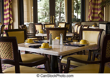 restaurang, restaurang, inställning, bordläggar
