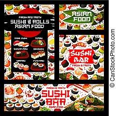 restaurang, rolls, hinder, sushi, meny, japansk