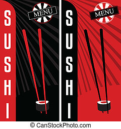 restaurang, sushi, menu., japansk, design, mall