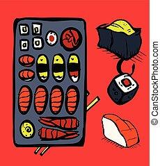 restaurang, sushi, sätta, ikonen