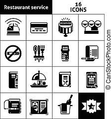 restaurang, svart, service, ikonen