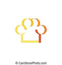 restaurang, symbol, matlagning, kock, vektor, logo