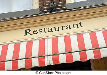restaurang, underteckna
