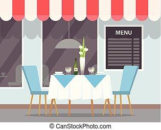 restaurant, élégant, extérieur, dehors, vue, table
