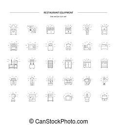 restaurant., éléments, restaurant, set., cuisine, commercial, équipement, café, boulangerie, ligne, icône