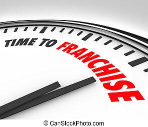 restaurant, établi, business, chaîne, horloge, compagnie, essence, ou, franchise, autre, autoriser, mots, temps, station, nouveau, occasion, marque, magasin, illustrer