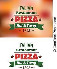 restaurant, étiquettes, emblèmes, italien, ou, pizza