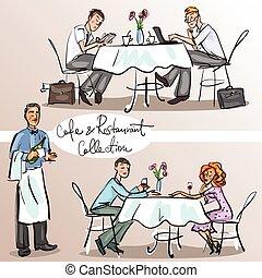 restaurant., カラフルである, 人々, 3, 部分, バージョン, カフェ