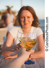 restaurant., ワイン, 飲むこと, 恋人, 若い