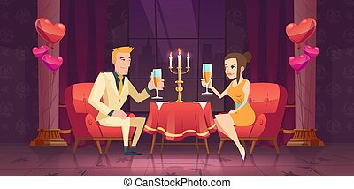 restaurant., 女, 人, 恋人, 日付, ロマンチック