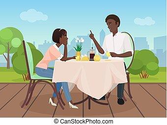 restaurant., 女, illustration., 恋人, 夕食, アメリカ人, ベクトル, 恋人, アフリカ, 漫画, 人