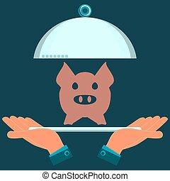 restaurant., 彼の, 食べること, 肉, 豚, 取り分け用の皿, hands.
