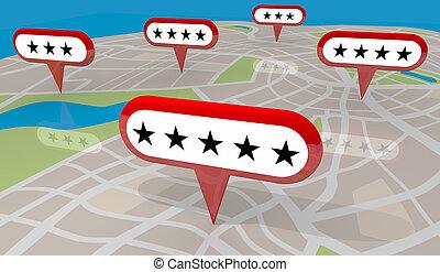 restaurant, aanbeveling, vijf, ster, bespreken, winkel, plaatsen, kaart, illustratie, 3d