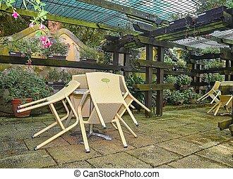 restaurant., abbandonato, poco, esterno, stile, terrazzo, giardino