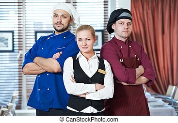 restaurant administrator and chefs - Waitress girl...
