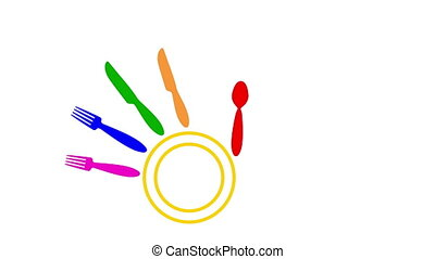 Colorful knives, forks, spoon and plate forming a waving hand palm