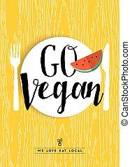 restaurant, affiche, vegan, fruit, conception, menu, aller