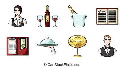 Restaurant and bar icons in set collection for design. Pleasure, food and alcohol vector symbol stock web illustration.