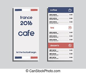 Restaurant and cafe menu. Flat design. France 2016 Football design. The national colors of France. Isolated on bright background. Vector