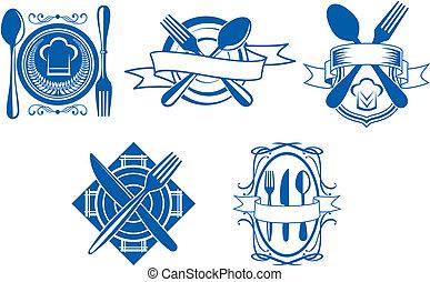 Restaurant and cafe menu icons