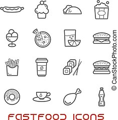 Restaurant and fast food thin line icons with pizza and...