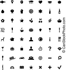 Restaurant And Map Icons Set
