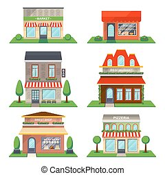 Restaurant and shop facade isolated vector set - Restaurant...