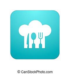 restaurant, app, moderne, vecteur, blanc, icône