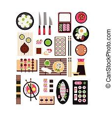 Restaurant Asian Cuisine. Vector Flat Illustration Set