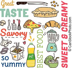 restaurant background in doodle style, various food and drink pattern