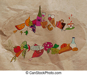 Restaurant background with food on the paper texture