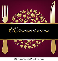 Restaurant Background With Restaurant Icons In Form Of...