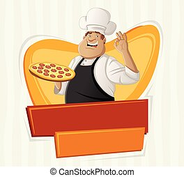 cartoon chef holding pizza