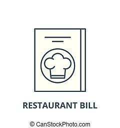 Restaurant bill vector line icon, linear concept, outline sign, symbol