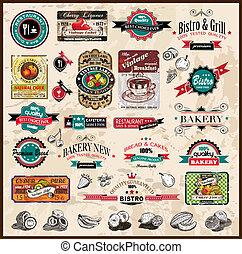 restaurant, bistro, différent, étiquettes, prime, &, nourriture, vendange, espace, text., collection, styles, co, qualité