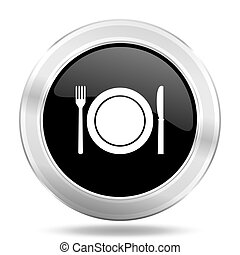 restaurant black icon, metallic design internet button, web and mobile app illustration