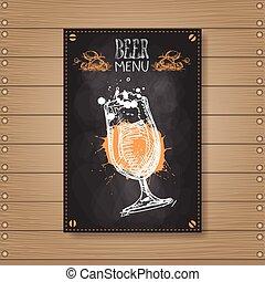 restaurant, bois, menu, chalked, pub, bière, conception, fond, textured, café