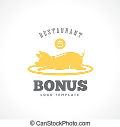 Restaurant Bonus Abstract Vector Label or Logo Template. Isolated.