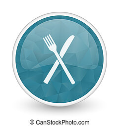 Restaurant brillant crystal design round blue web icon.