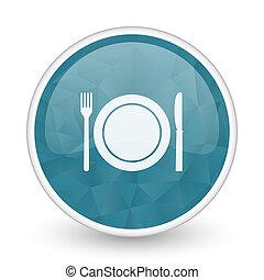 Restaurant brillant crystal design round blue web icon.