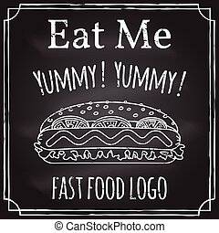 restaurant, business., craie, thème, éléments, me., manger