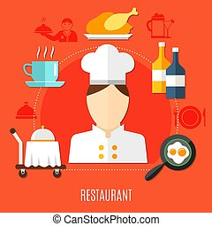 Restaurant Business In Hotel Decorative Icons Set
