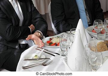 restaurant businessman meeting