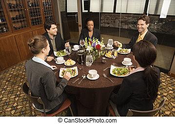 restaurant., businesspeople